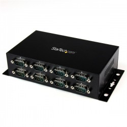 StarTech.com 8 Port USB to DB9 RS232 Serial Adapter Hub – Industrial DIN Rail and Wall Mountable