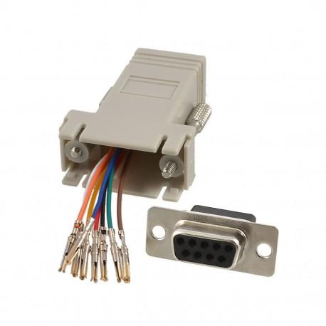 RJ45 Socket to D9 Female Modular D Adapter