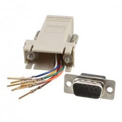 RJ45 Socket to D9 Male Modular D Adapter