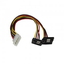 12in LP4 to 2x Right Angle Latching SATA Power Y Cable Splitter - 4 Pin Molex to Dual SATA