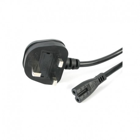 1m Laptop Power Cord 2 Slot for UK - BS-1363 to C7 Power Cable Lead