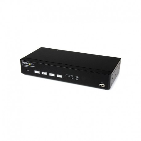 4 Port USB DVI KVM Switch with DDM Fast Switching Technology and Cables