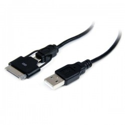 StarTech.com 0.65m (2 ft) Short Apple 30-pin Dock Connector or Micro USB to USB Combo Cable for iPhone / iPod / iPad