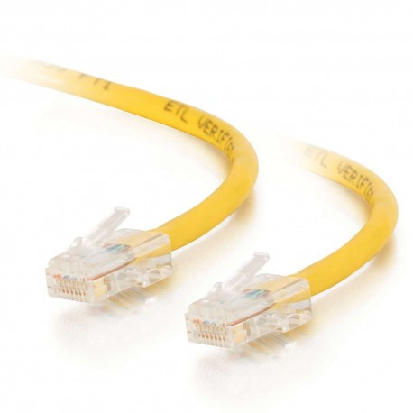 0.5m Cat5E 350 MHz Crossover RJ45 Patch Leads - Yellow
