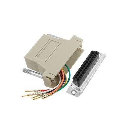 RJ45 Socket to D25 Female Modular D Adapter