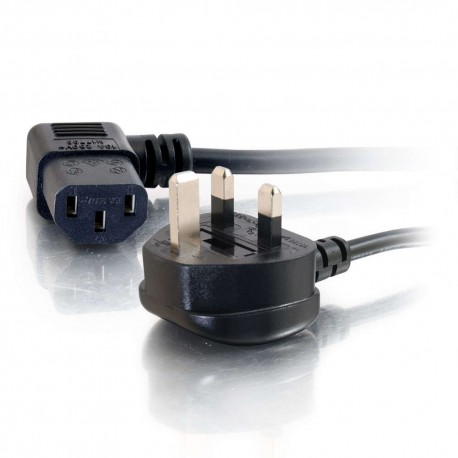 CablesToGo 2m 18 AWG UK 90° Power Cord (IEC320C13R to BS 1363)