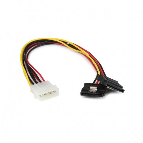 12in LP4 to 2x Latching SATA Power Y Cable Splitter Adapter - 4 Pin Molex to Dual SATA