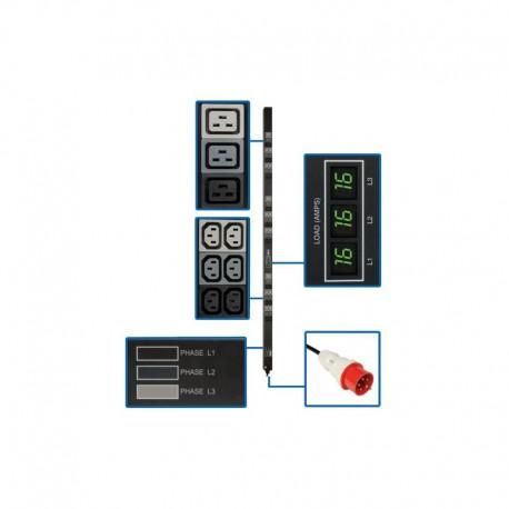 11.5kW 3-Phase Metered PDU, 240-220V (36-C13 & 9-C19), IEC-309 16A Red, 415-380V Input, 6ft Cord, 0U Vertical